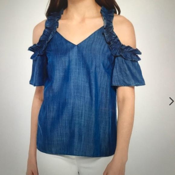5e898118c2f1b Kaari Blue Tops - Kaari Blue denim cold-shoulder Blouse